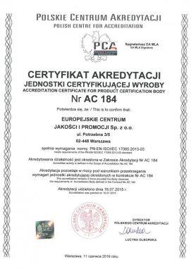 certyfikatAC184